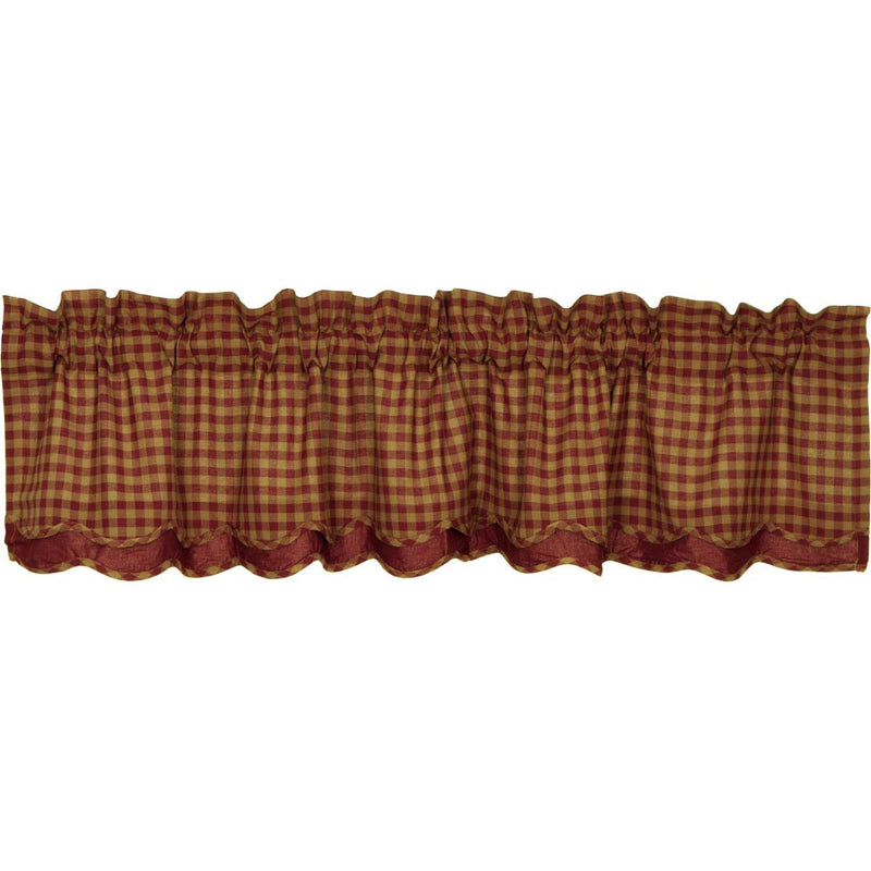 Burgundy Check Scalloped Layered Valance 16x72