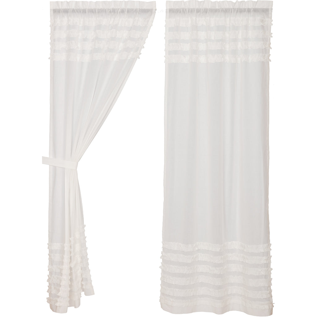 White Ruffled Sheer Petticoat Panel Set of 2 84x40