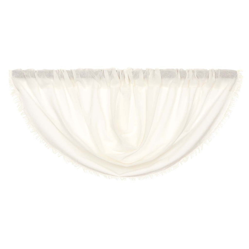 Tobacco Cloth Antique White Balloon Valance Fringed 15x60