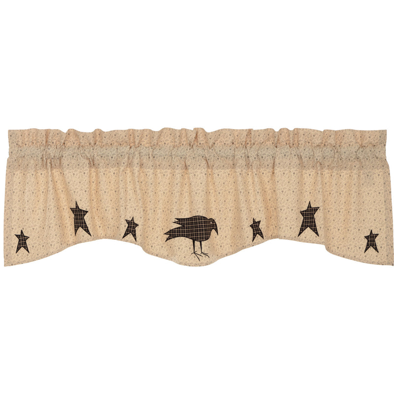 Kettle Grove Applique Crow and Star Valance 16x60