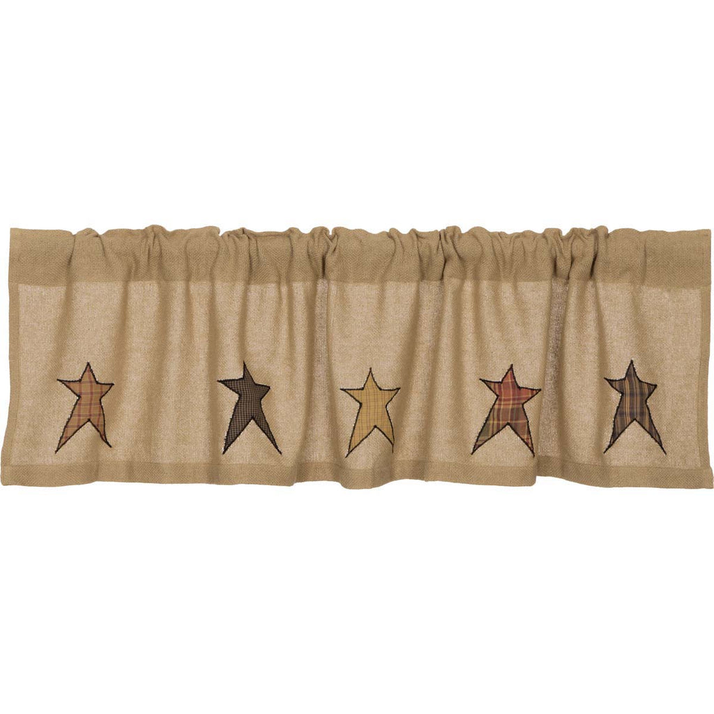 Stratton Burlap Applique Star Valance 16x60