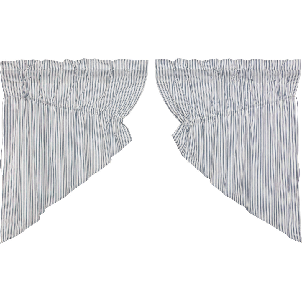 Sawyer Mill Blue Ticking Stripe Prairie Swag Set of 2 36x36x18