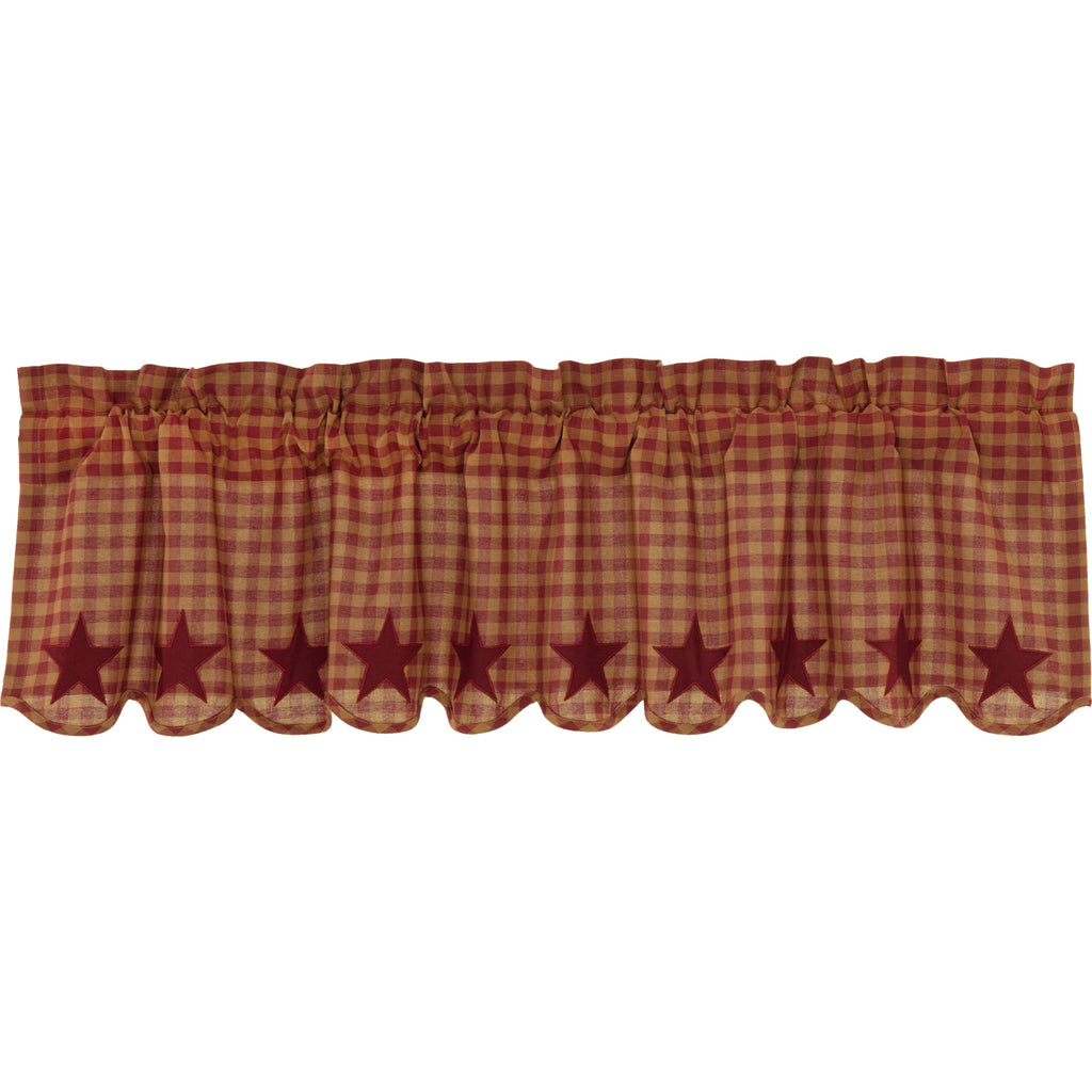 Burgundy Star Scalloped Valance 16x60