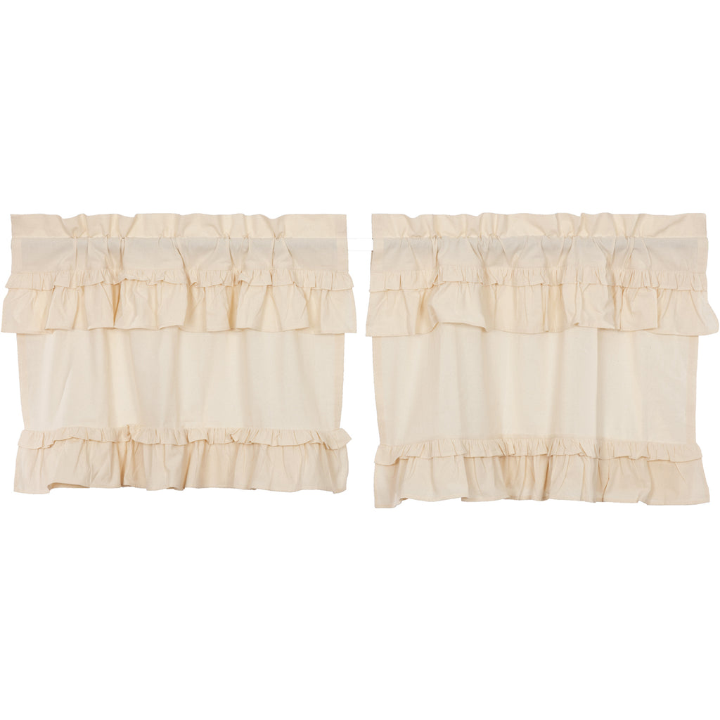 Muslin Ruffled Unbleached Natural Tier Set of 2 L24xW36
