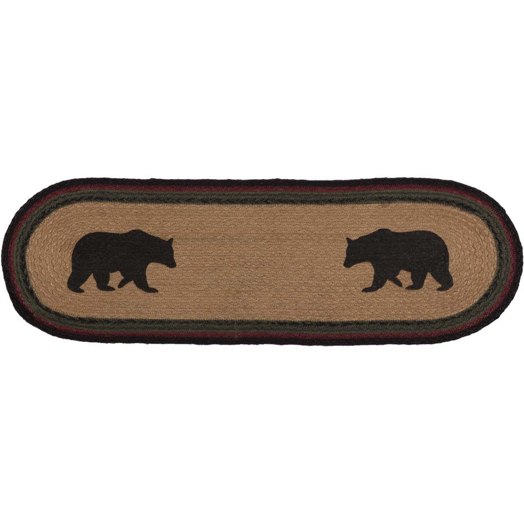 Wyatt Stenciled Bear Jute Stair Tread Oval Latex 8.5x27