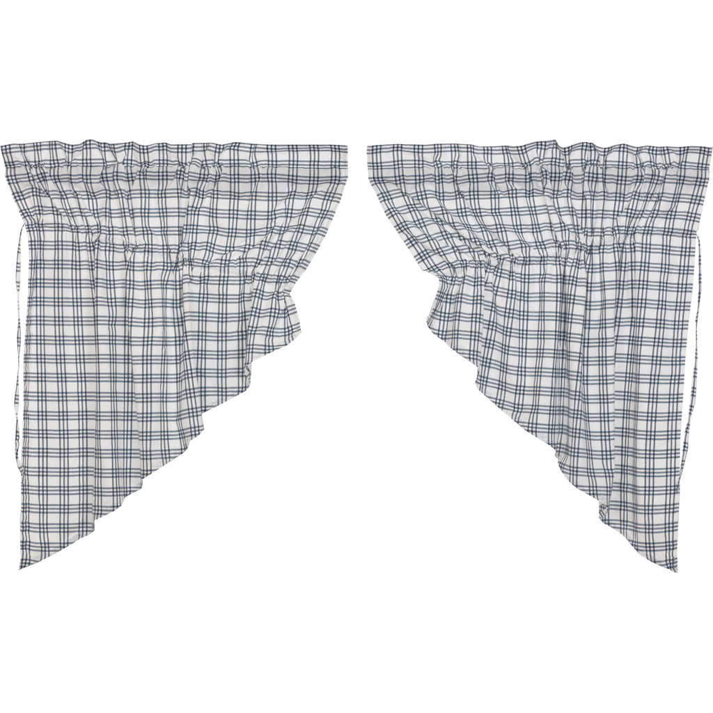Sawyer Mill Blue Plaid Prairie Swag Set of 2 36x36x18