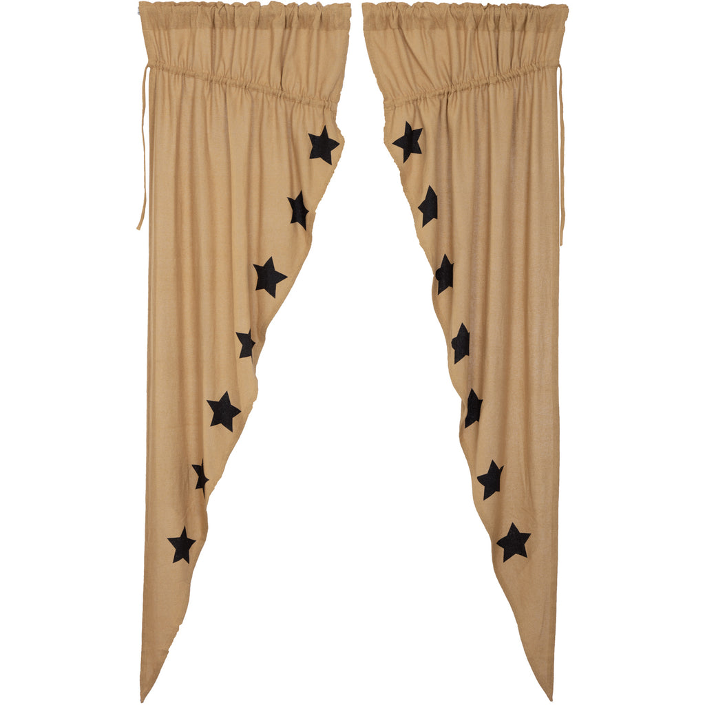 Burlap W/Black Stencil Stars Prairie Long Panel Set of 2 84x36x18