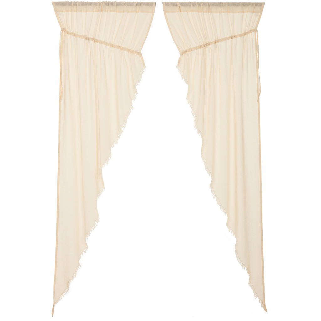 Tobacco Cloth Natural Prairie Long Panel Fringed Set of 2 84x36x18