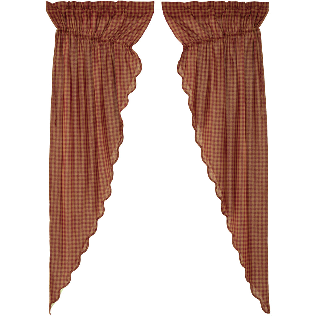 Burgundy Check Scalloped Prairie Long Panel Set of 2 84x36x18