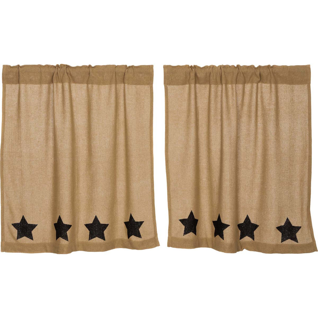 Burlap w/Black Stencil Stars Tier Set of 2 L36xW36