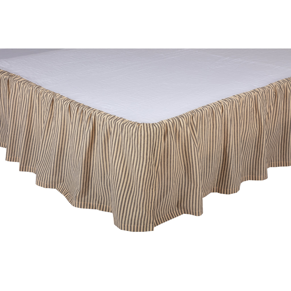 Sawyer Mill Charcoal Ticking Stripe Queen Bed Skirt 60x80x16