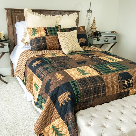 Donna Sharp Brown Bear Cabin Reversible Quilted Collection