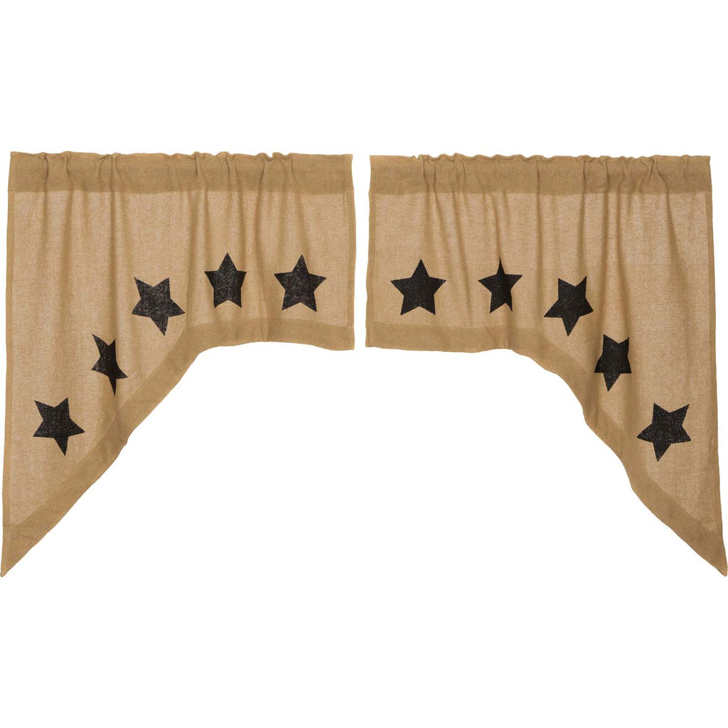 Burlap w/Black Stencil Stars Swag Set of 2 36x36x16