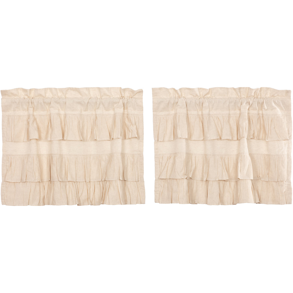 Simple Life Flax Natural Ruffled Tier Set of 2 L24xW36