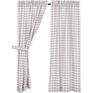 Annie Buffalo Grey Check Short Panel Set of 2 63x36