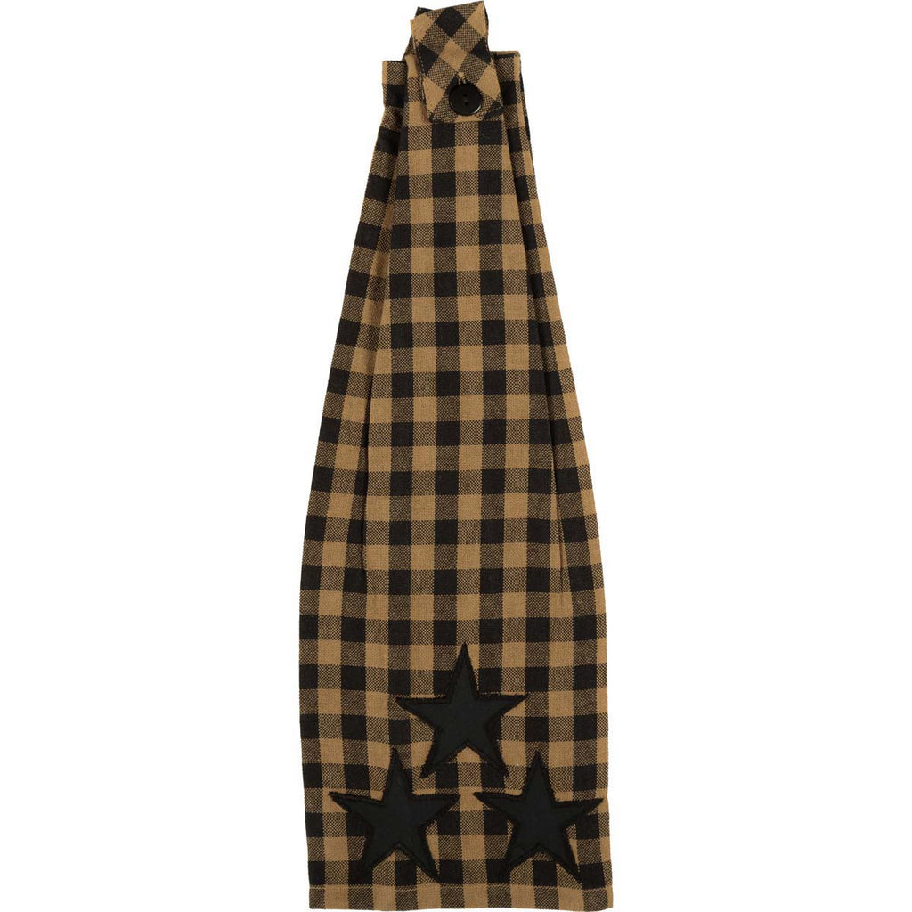 Black Star Button Loop Kitchen Towel