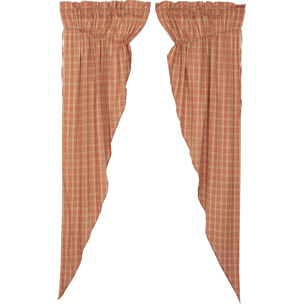 Sawyer Mill Red Plaid Prairie Long Panel Set of 2 84x36x18
