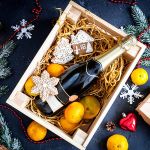 Wine in xmas gift box