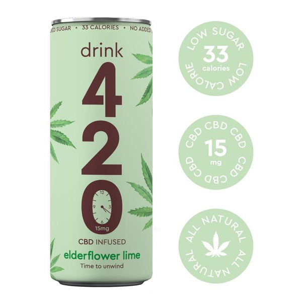 DRINK 420 CBD INFUSED ELDERFLOWER  & LIME JUICE 15MG - 250ML