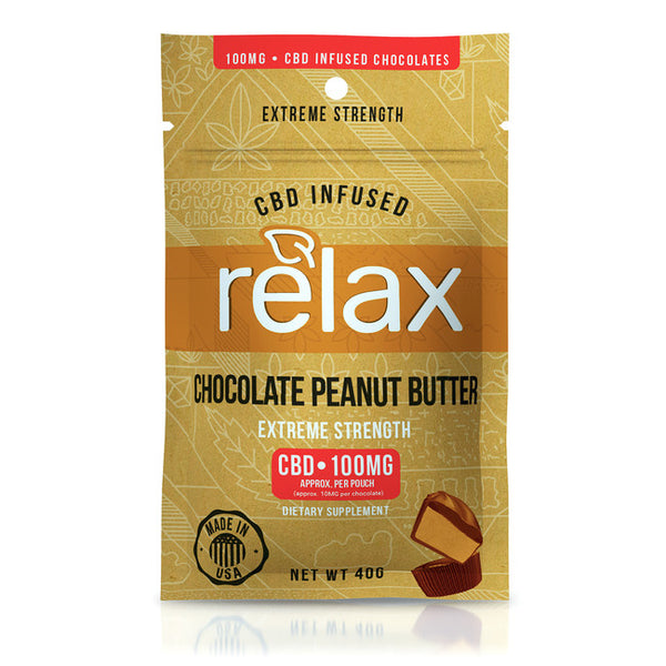 RELAX GUMMIES CBD INFUSED CHOCOLATE PEANUT BUTTER - 100MG