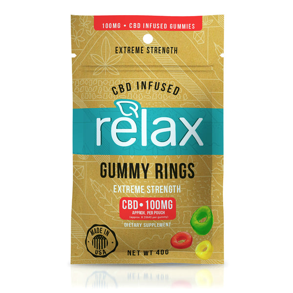 RELAX GUMMIES CBD INFUSED GUMMY RINGS - 100MG