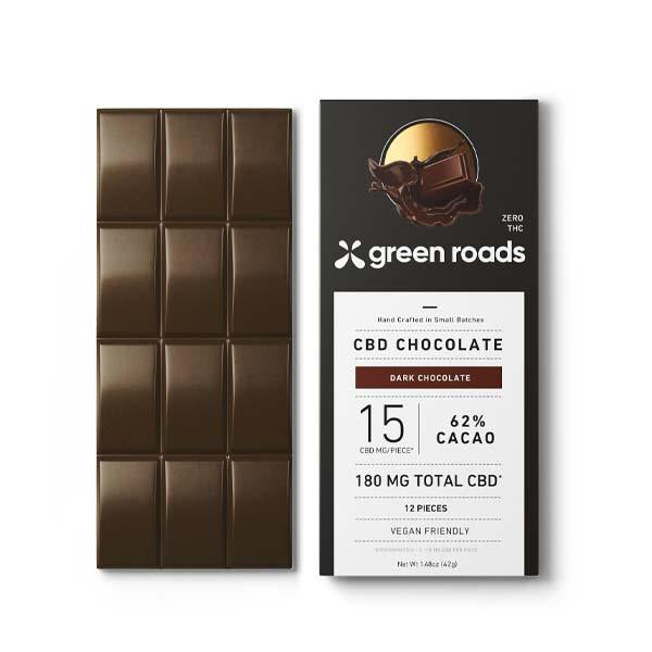 GREEN ROADS CBD DARK CHOCOLATE 62% CACAO - 180MG
