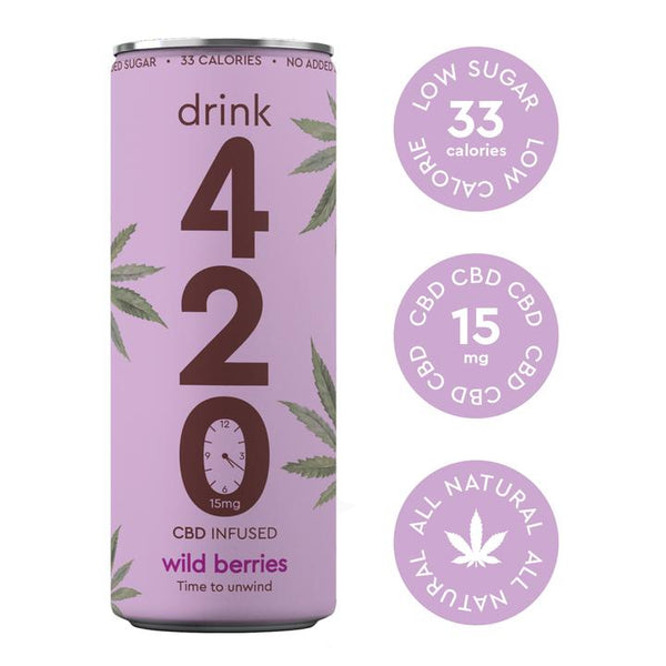 DRINK 420 CBD INFUSED SWEET WILD BERRIES 15MG - CASE OF 12