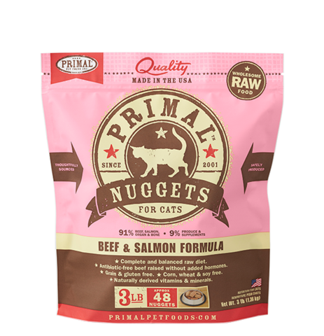 Primal Raw Frozen Cat Beef & Salmon Nuggets 3 lbs.