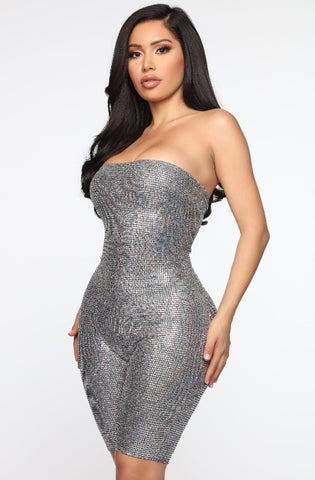 Shine at the party sequin biker romper