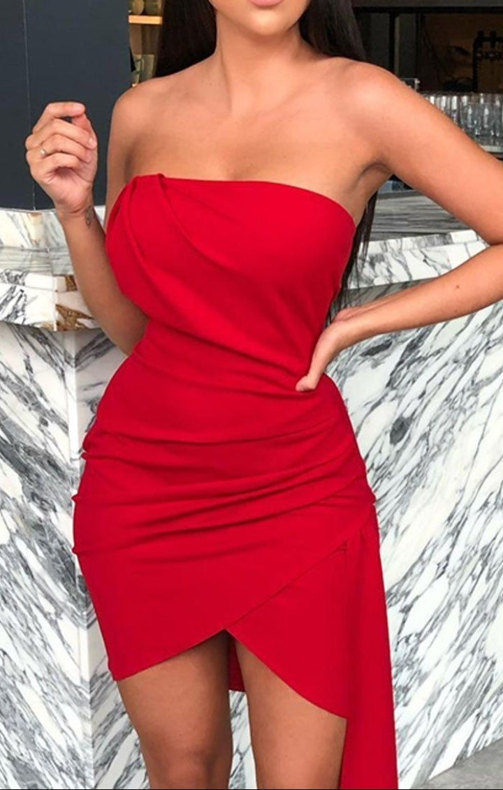 Femme luxe Red front pleat strapless mini dress