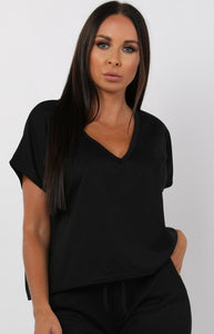 Femme luxe Black V-neck boxy loungewear set