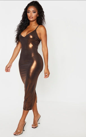 Plt shape bronze metallic slinky cup detail midi dress