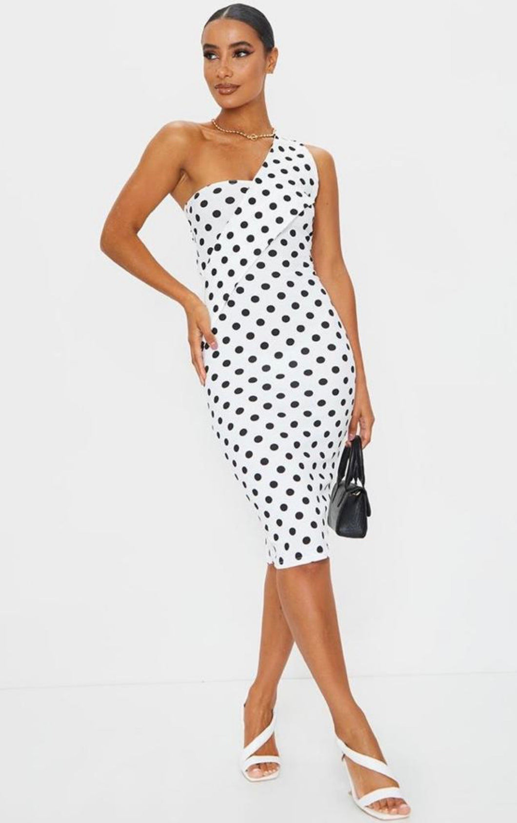 White polka dot asymmetric strap midi dress