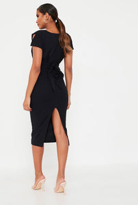 Isawitfirst stretch crepe pleat detail belted midaxi dress