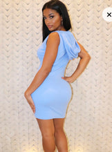 Plt shape dusty blue thick rip zip detail hooded bodycon dress
