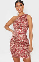 Plt leopard print satin one shoulder ruched bodycon dress