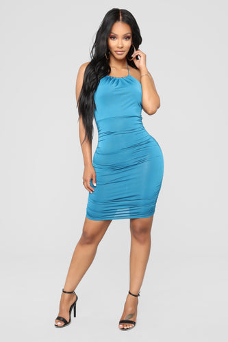 Golden Girl Mini Dress - Teal