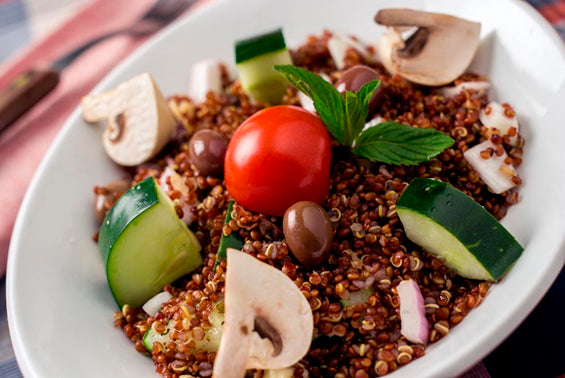 Greek Mushrooms Red Quinoa Salad