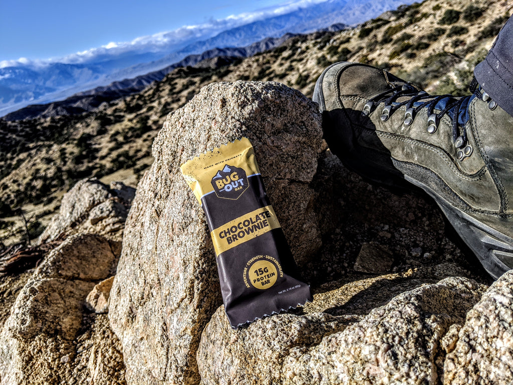 Cricket protein bar next to hiking boot on rock at top of mountain