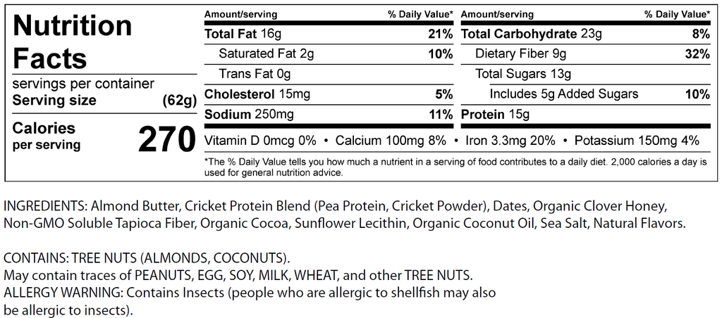 Nutritional fact panel for cricket protein bar