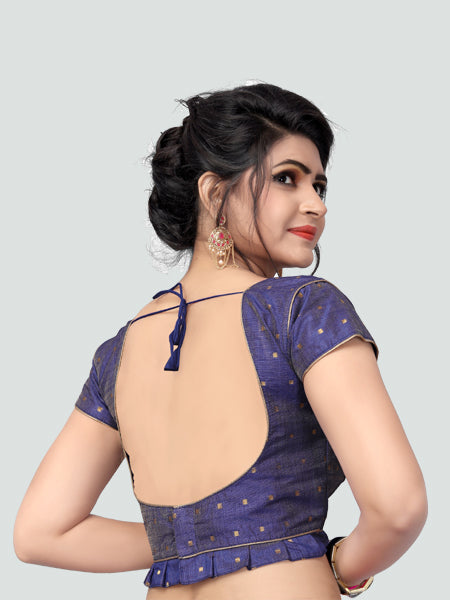 Back Side of Blue Silk Saree Blouse for Women - YOYO Fashion