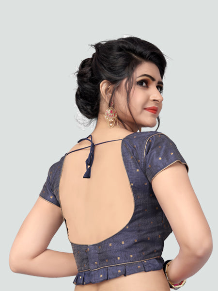 Back Side of Grey Silk Saree Blouse for Women - YOYO Fashion