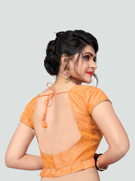 Back Side of Light Orange Silk Saree Blouse for Women - YOYO Fashion