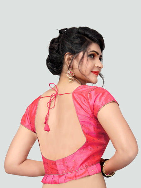Back Side of Pink Silk Saree Blouse for Women - YOYO Fashion