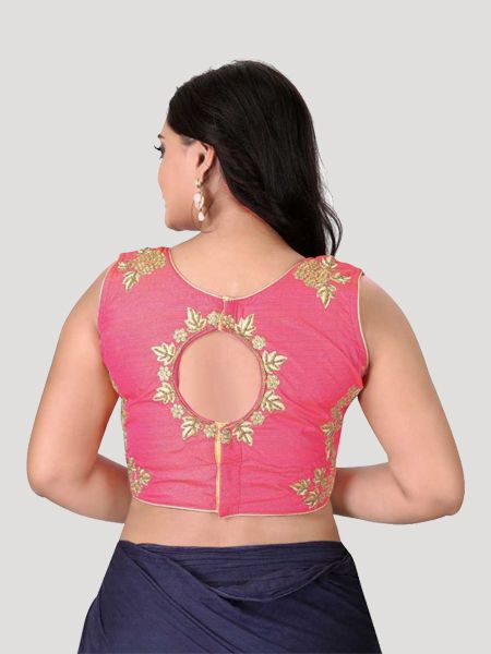 Peach Round Neck Women's Stitched Blouse Online - YOYO Fashion