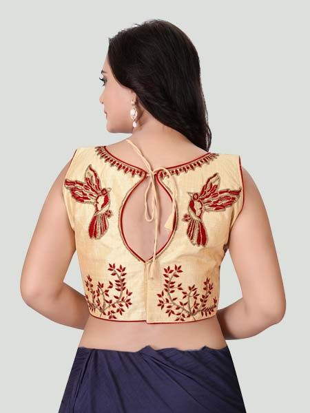Back Side of Red Boat Neck Stitched Blouse Design - YOYO Fashion