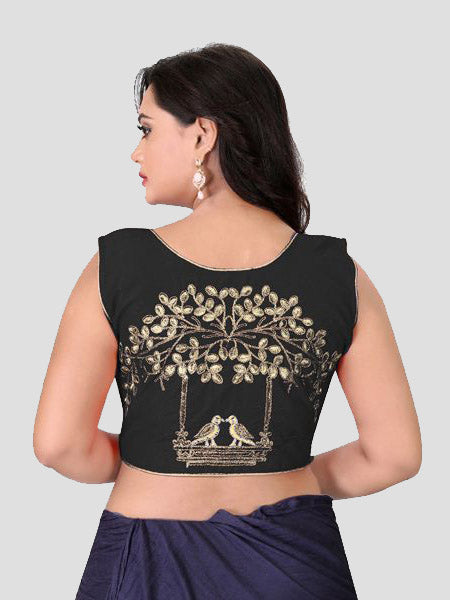 Back Side of Black Embroidered Silk Blouse - YOYO Fashion