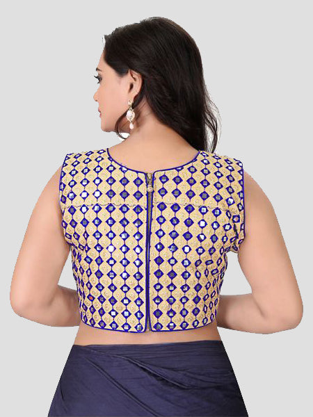 Back Side of Blue Mirror Work Blouse - YOYO Fashion