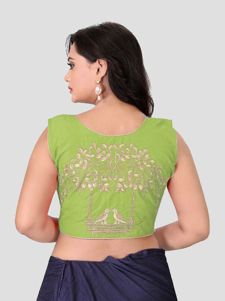 0ce2ba6c2215a Buy Green Embroidered Front Zipper Silk Blouse Online in India ...