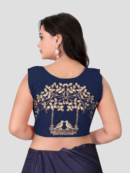 Back Side of Navy Blue Embroidered silk Blouse - YOYO Fashion